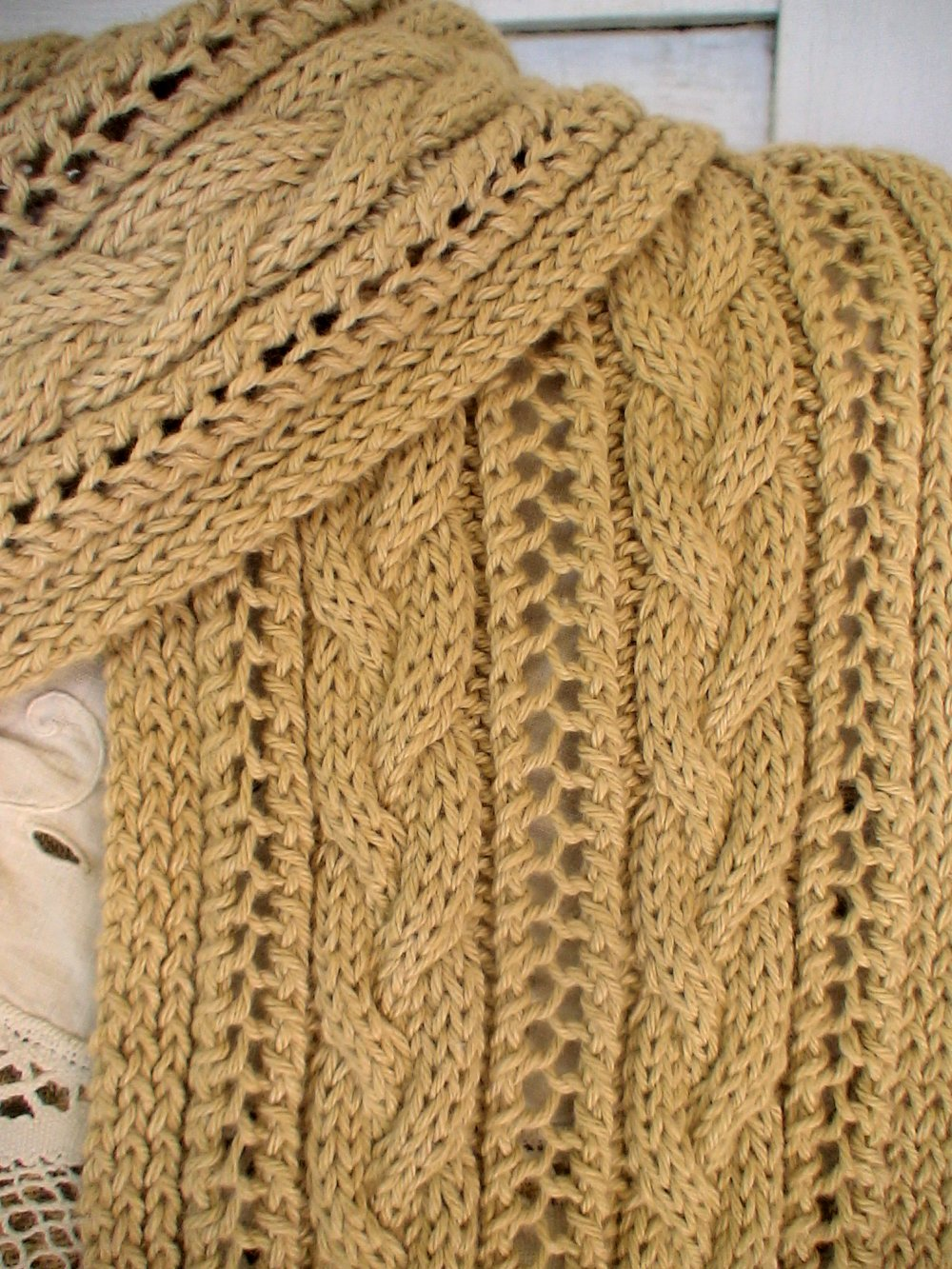 Cable and Lace Scarf Pattern