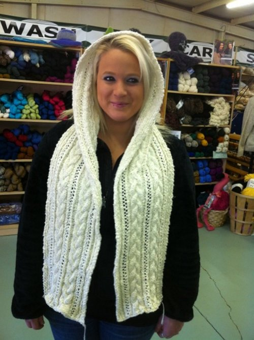 Cable and Lace Hooded Scarf