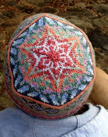 colorful fair isle hat top